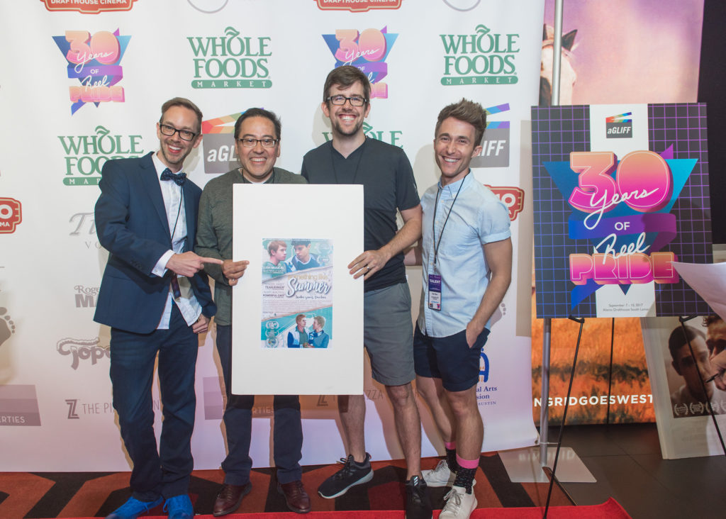 The SOMETHING LIKE SUMMER guys (Jay Bell, Carlos Pedraza, David Berry, Ben Baur) pose with their poster (Photo by Erika Rich)