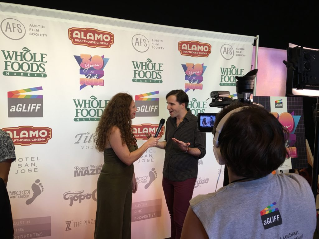 SUNSET's Gary Jaffe (Co-DIR/SCR) being interviewed) (Photo by Stephanie Mella)