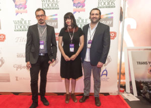 The TRANS YOUTH technical team: David Lovas (Titles), Rebecca Adler (Director), and Tony Costello (Editor) (Photo by Erica Rich)