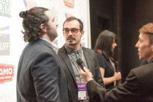 TRANS YOUTH Editor Tony Costello and Titles creator David Lovas being interviewed (Photo by Erica Rich)