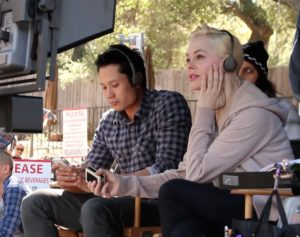 Rose McGowan, on the set of DAWN