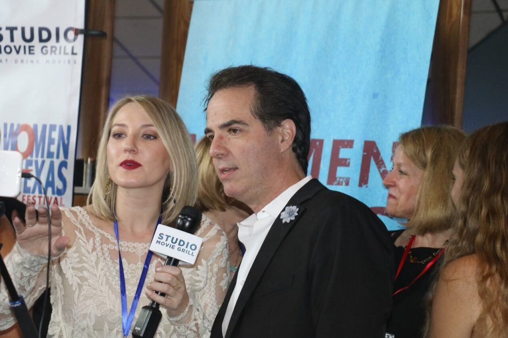 Jonathan Brownlee being interviewed at the Women Texas Film festival earlier this year. (Photo by Sandra Kent)