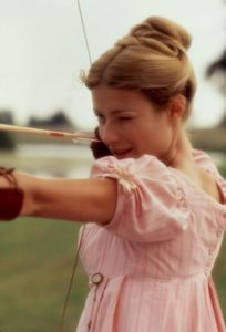 Gwyneth Paltrow taking aim in EMMA, but we now know what she likely would've loved to use as target practice.