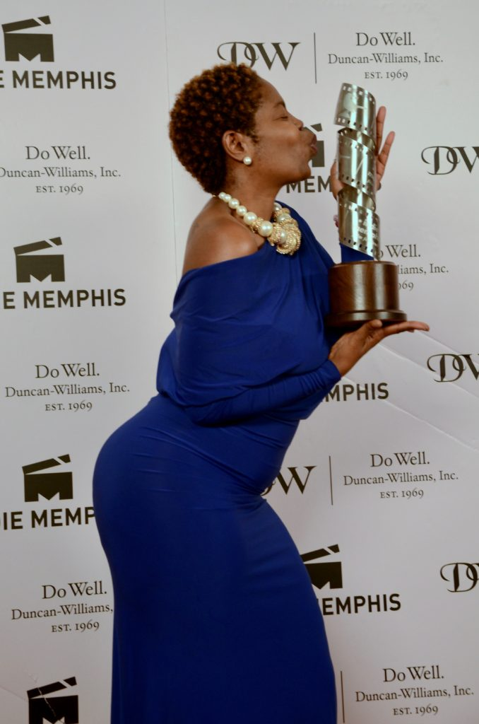 Aisha Raison, loving the Indie Grant she received for her project, DANCIN IN THE BLUE MOON (Photo by Stephen Hildreth)