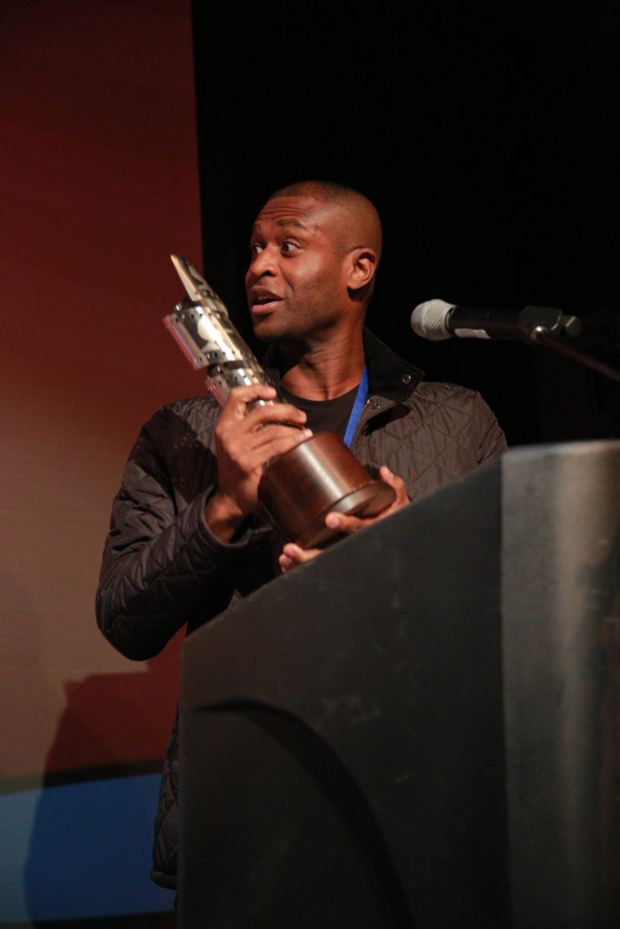 Anthony Onah (THE PRICE) receives the Craig Brewer Emerging Filmmaker Award (Photo by Stephen Hildreth)