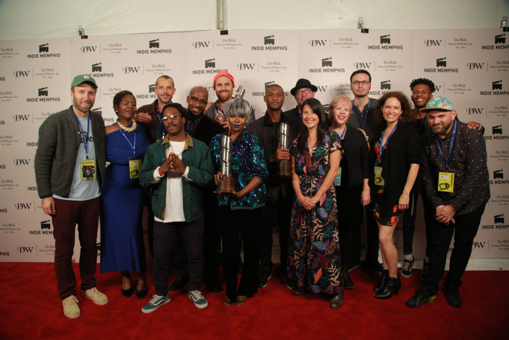 """2017 Indie Memphis award winners (Left to Right) Erik Jeung (THE BLOOD IS AT THE DOORSTEP), Aisha Raison (DANCIN IN THE BLUE MOON), Mateo Servente (WE GO ON, AN ACCIDENTAL DROWNING), Quintin Lamb (""""I'm A God""""), Brandon Person (DANCIN IN THE BLUE MOON), Karl Jacob (COLD NOVEMBER), Telisu (""""I'm A God""""), Anthony Onah (THE PRICE), Wade Gardner (MARVIN BOOKER WAS MURDERED), Kimi Takesue (95 AND 6 TO GO), Laura Jean Hocking (GOOD GRIEF), Brett Whitcomb (A LIFE IN WAVES), Melissa Sweazy (GOOD GRIEF), Lawrence E. Matthews III (""""Harbor Hall""""), Morgan Jon Fox (THE ONE YOU MAY NEVER FORGET) (Photo by Stephen Hildreth)"""