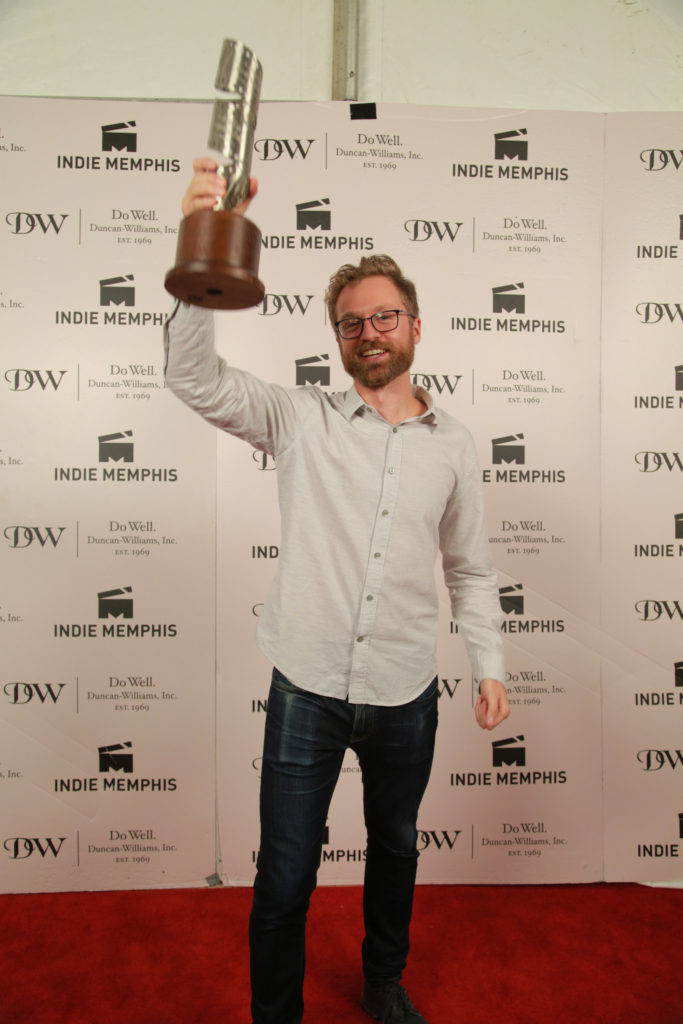 FOR AKHEEM's Jeremy Levine hoists the hardware his film won for Best Documentary (Photo by Stephen Hildreth)