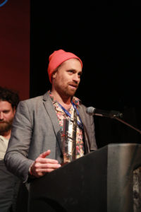 Karl Jacobs accepts his award for COLD NOVEMBER (Photo by Stephen Hildreth)