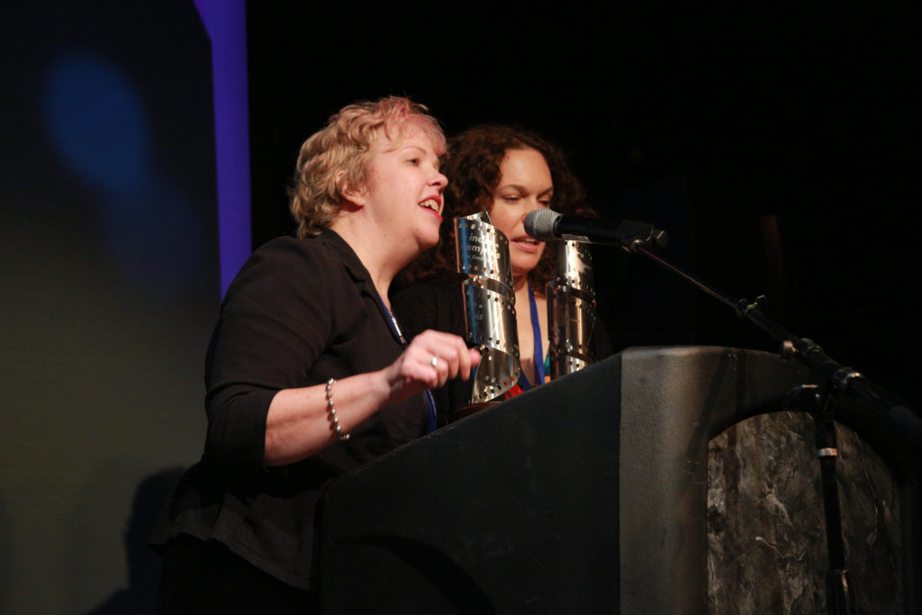 Memphis's Laura Jean Hocking and Melissa Sweazy accepting one of their multiple awards for the locally produced, GOOD GRIEF (Photo by Stephen Hildreth)