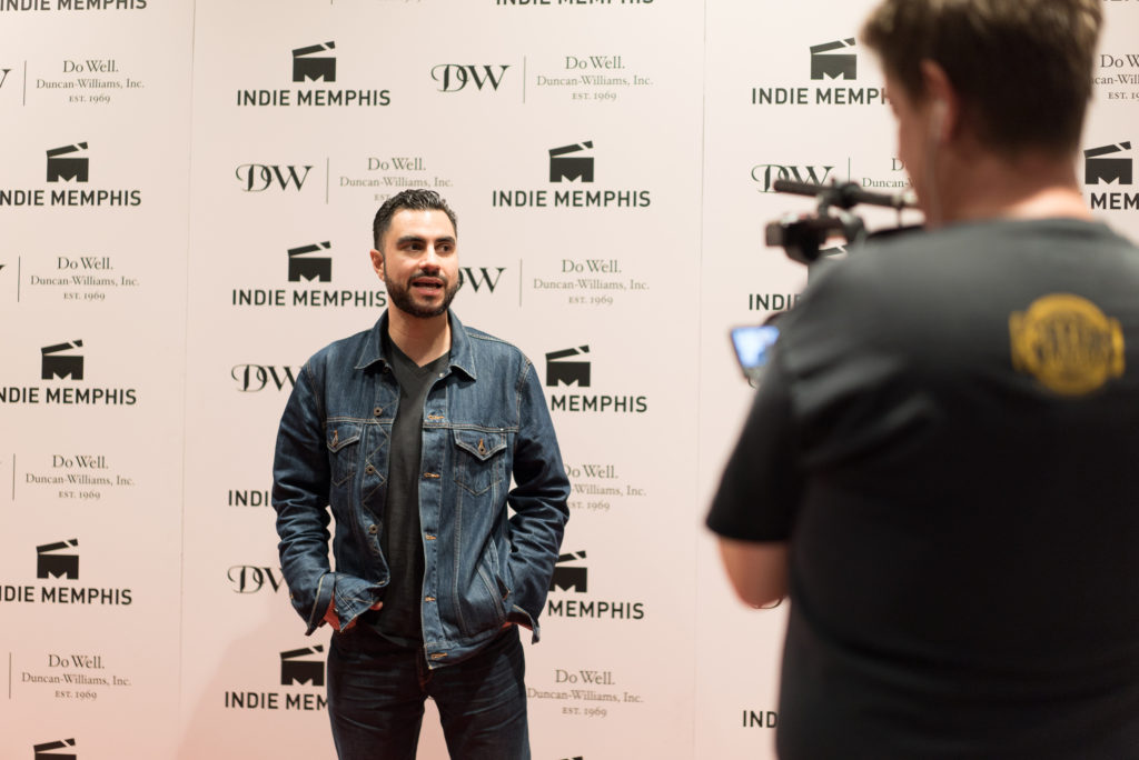 WEAPONS director Adam Bhala Lough being interviewed (Photo by Stephen Hildreth)