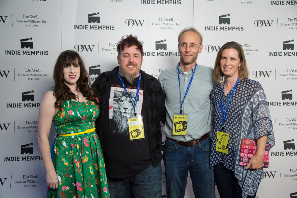 The FINDING TOBEY team: Kelly Yarwood (C0-PROD), Chase Gustafson (DIR/PROD), Aaron Shafer (Co-PROD/CAST), Michelle Shafer (Co-PROD) (Photo by Stephen Hildreth)