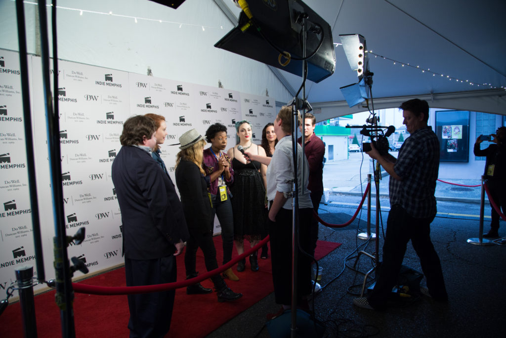 RED VELVET CAKES's Martina Boothes being interviewed (Photo by Stephen Hildreth)