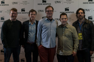 The THOM PAIN crew: Gil Cates Jr. (PROD), Will Eno (Co-DIR/SCR), Rainn Wilson, Oliver Butler (Co-DIR), Jeff Toyne (Composer) (Photo by Stephen Hildreth)