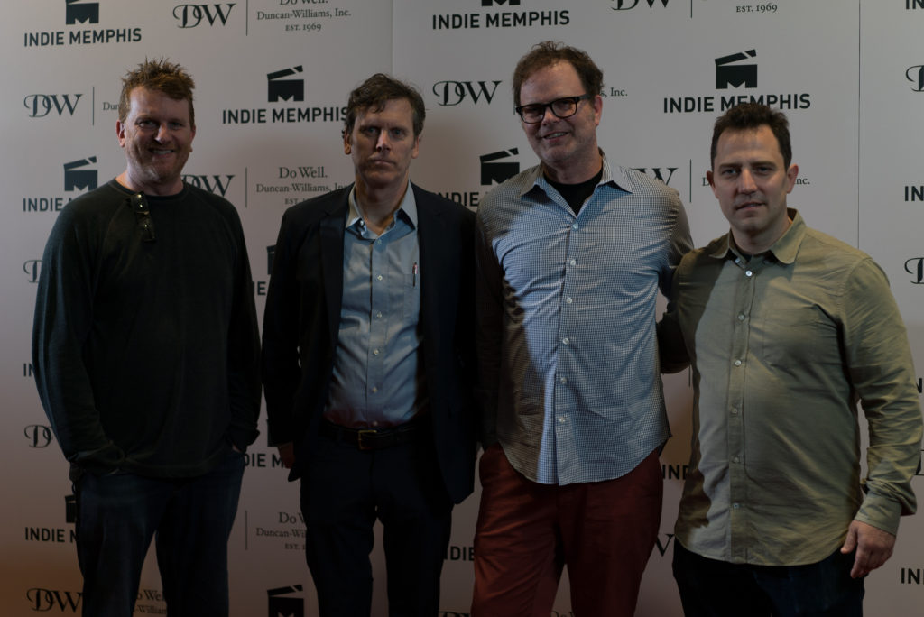 Producer Gil Cates Jr. joins the rest of the THOM PAIN team, with co-director and screenwriter Will Eno, star Rainn Wilson, and co-director Oliver Butler (Photo by Stephen Hildreth)