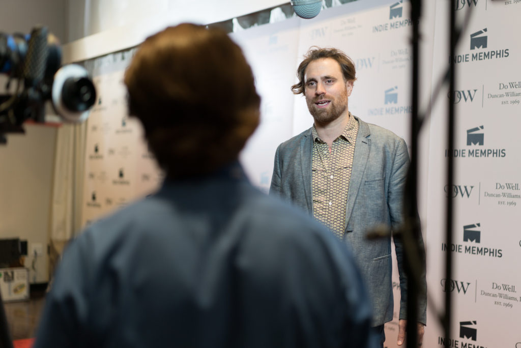COLD NOVEMBER's Karl Jacob being interviewed (Photo by Stephen Hildreth)