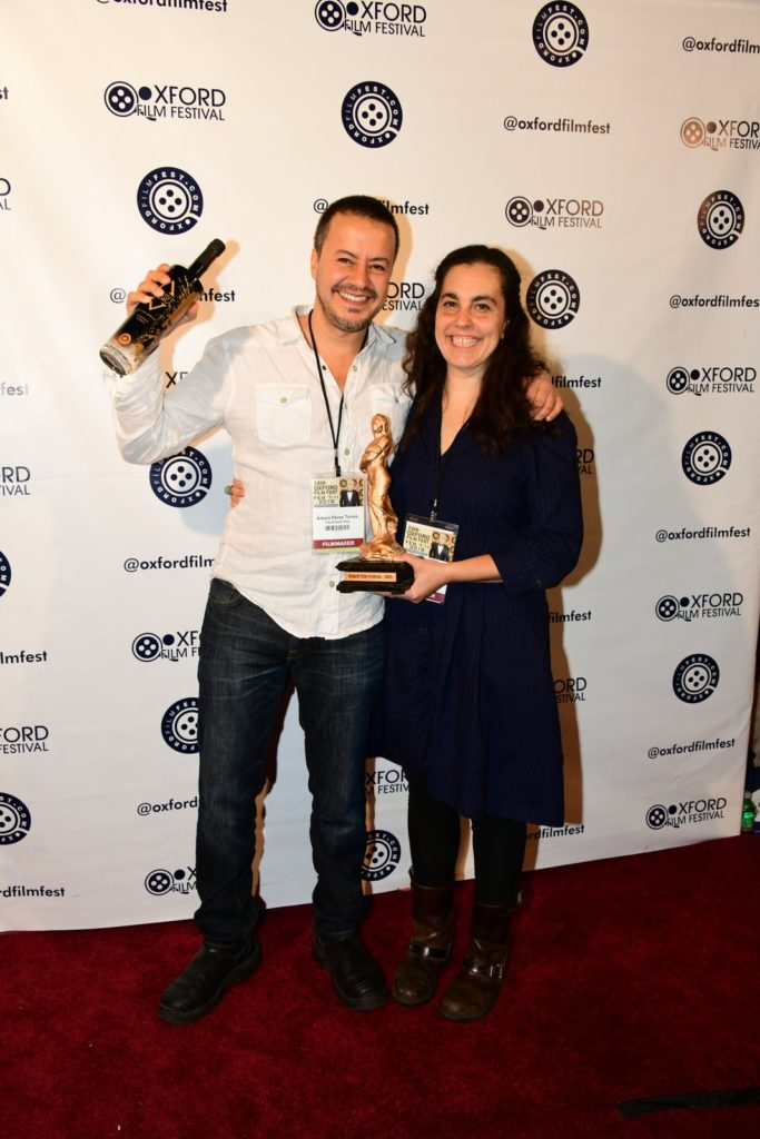 He gets the Artist Vodka, and she gets the Hoka Award: THE DRAWER BOY co-directors Arturo Perez Torres, Aviva Armour-Ostroff, winners of the Best Narrative Feature Film Award (Photo by Joey Brent)