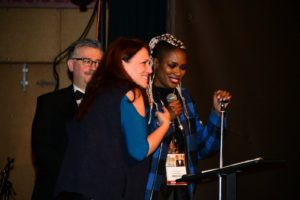Eric D.Snider, Catherine Eaton (THE SOUNDING), Astin Rocks (LOVE SOLILOQUY: A VISUAL ALBUM) accept their Special Recognition kudos 2.10.18 (Photo by Joey Brent)
