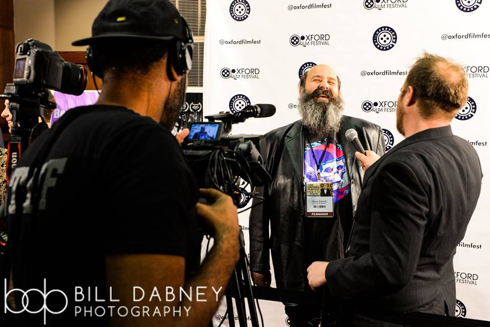 Billy Chase Goforth (DOOR IN THE WOODS) being interviewed (Photo by Bill Dabney)